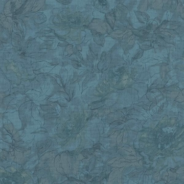 Qp91  Floral Outline Misty Blue