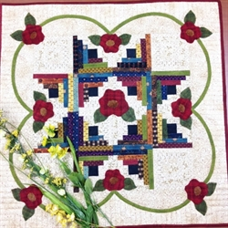 Patchwork table topper med blomster
